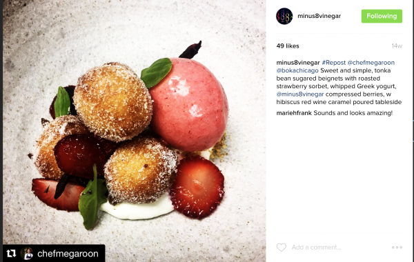 Sweet & Simple Tonka Beans sugared beignets with roasted strawberry sorbet, whipped greek yogurt and minus8 compressed berries